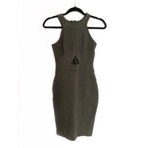 Windsor Olive Green Cutout Bodycon Midi Dress